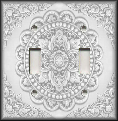 Metal Light Switch Plate Cover Antique Tile Design Silver Grey Home Decor