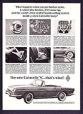 "1963 Renault Caravelle Convertible ""S"" photo vintage promo print ad"