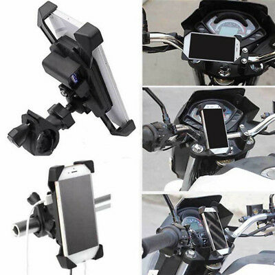 Motorcycle Charger Cell Phone Mount Holder Clamp with USB Charger*ATV GPS Holder