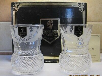 Edinburgh Crystal Thistle Cut Whisky Tumblers x 2, Whisky Glasses, 10cm Boxed