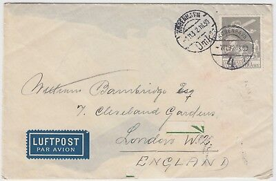 DENMARK 1932 50ore high value on air mail cover *COPENHAGEN-LONDON*