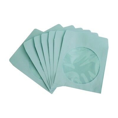 200 80g CD DVD R Disc Paper Sleeve Envelope Clear Window Flap - Blue
