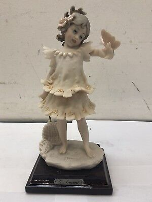 "Giuseppe Armani Butterfly Girl Sculpture 8.25"" Figurine Florence Italy 1986"