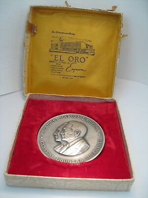 "Philippines 2 5/8"" Medal. QUEZON/MacARTHUR. Made by JJ TUPAZ. Original Box."
