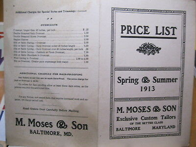 1913 M. Moses & Son Baltimore, MD Custom Tailors of the Better Class Price List