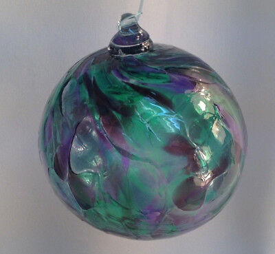 WITCH BALL SMALL STAINED GLASS BRONTE HARBOUR FRIENDSHIP SUNCATCHER Purple #18