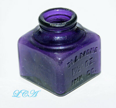 FULL FACE embossing DIAMOND INK well DEEP PURPLE 1-1/2  ounce size DATED = 1903