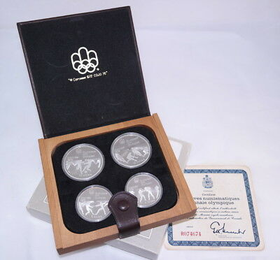 1976 Montreal Olympics Silver Proof 4-Coin Set - Royal Canadian Mint + Box & COA