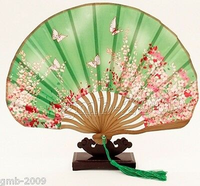 Wine green Chinese Folding Silk HAND FAN with Flowers Wedding Party Gift
