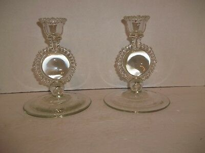 2 Vintage Cambridge Glass Crystal Beaded Center Disc Candlestick Candle Holder