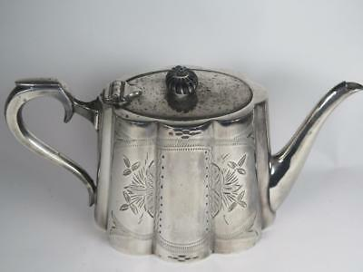 VICTORIAN SILVER PLATED Teapot Chased Pattern Boardman & Glossop Sheffield 1860s