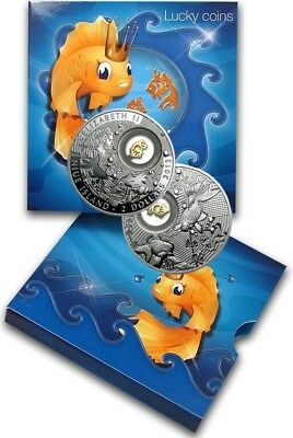 2013 $2 Niue Island 925 Sterling Silver Proof Lucky Coins Goldfish With Box COA