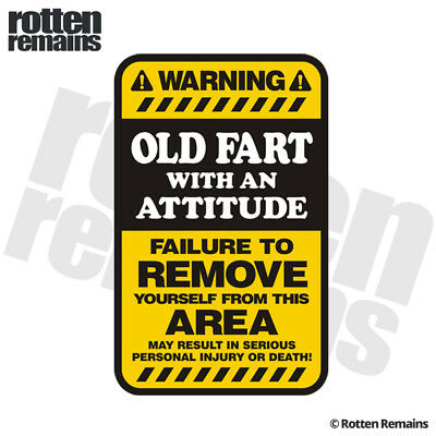 Old Fart Warning Yellow Decal Funny Hard Hat Window Gloss Sticker HVG