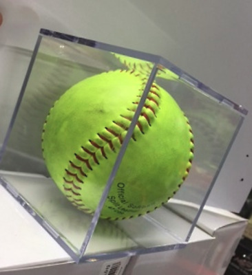 """Softball Cube Display Holder / Clear Case / Gift , Signature - 12"""""""