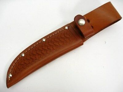 "Brown Leather Sheath For Straight Fixed Blade Knife Up To 5"" Blade SH1134"