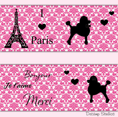 Pink Paris Poodle Damask Wallpaper Border Wall Art Decal Baby Girl Nursery Decor