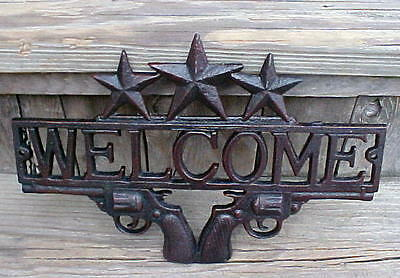 Rustic Guns & Stars Cast Metal Welcome Sign Cowboy Six Shooters Western Ranch