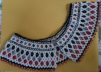 """Vtg Beaded Collar 2 3/3"""" Wide Sead Beads Black Red White Clear Native American"""