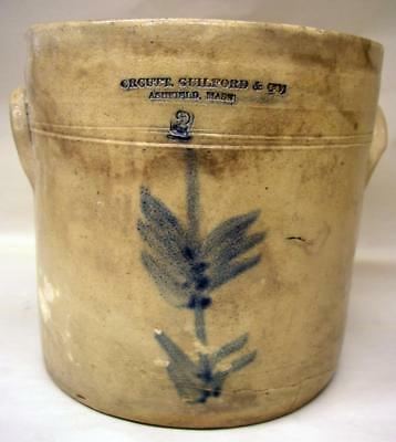 Blue Decorated Antique 2 Gal. Stoneware Crock Orcutt Guilford & Co.Ashfield Mass