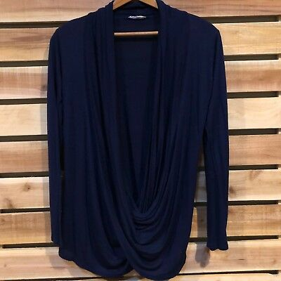 Womens Navy Blue FREE TO LIVE Made in USA Maternity Nursing Cardigan Top M