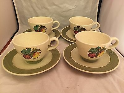 """Set of 4 Metlox Poppytrail Provincial Fruit Green Cup and Saucers 2.5"""" Tall"""
