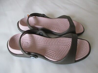 Crocs Cleo Sandals, Women's Size 7 Chocolate/Cotton Candy NWT FREE USA SHIPPING