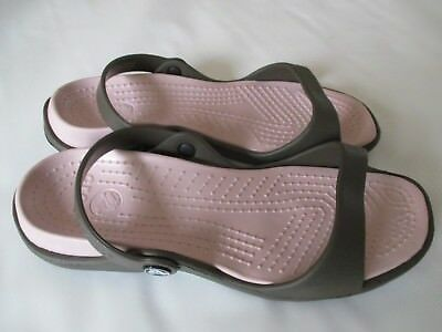Crocs Cleo Sandals, Women's Size 8 Chocolate/Cotton Candy NWT FREE USA SHIPPING