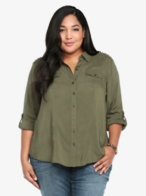 TORRID Green Collared Challis Shirt with Studs Sz 0X/XL NWT AGF