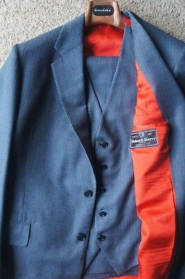 Bespoke Hand Tailored Blue 3 Pc 2 Btn Suit Holland & Sherry London Wool ~ 42 R