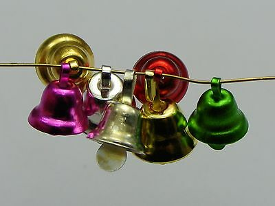 100 Mixed Color Jingle Bells Charms Pendants 9mm for Christmas Craft