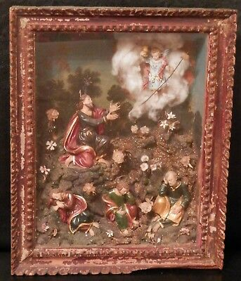 OLD antique 19th Century Fine Folk Art Primitive DIORAMA with Oil painting &Wood
