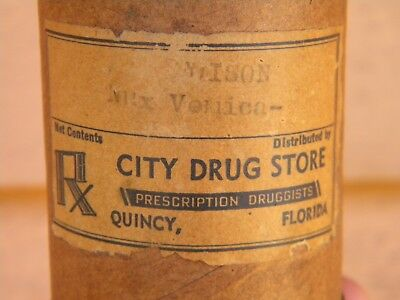Rare QUINCY FLORIDA Drug Store Tube Container - CITY DRUG STORE Not Bottle