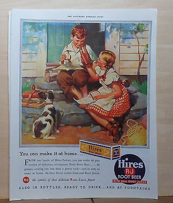 1937 magazine ad for Hires Root Beer - Make it at home, children & dog enjoy pop