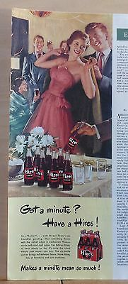 1949 magazine ad for Hires Root Beer - Party goers enjoy Hires, Got A Minute?