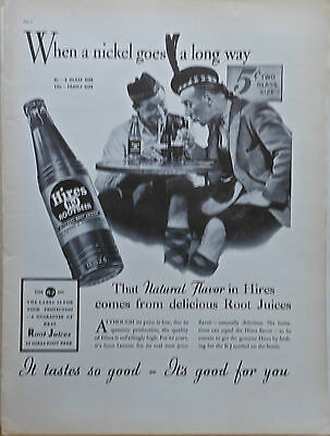 1937 magazine ad for Hires Root Beer - Scotsmen, When a Nickel goes a long way