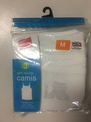 NIP Girls White Cami Camisole Tank Top Tagless Hanes 3 Pack 100% Cotton M 7 8