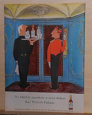 1957 magazine ad for Walker's Deluxe Bourbon Whiskey, L. Bemelmans illustration