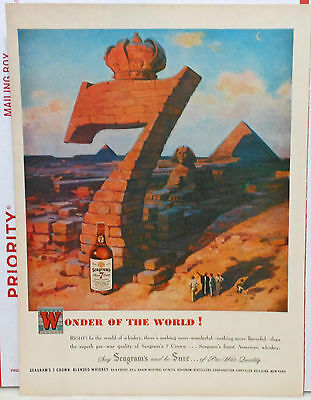 1948 magazine ad for Seagram's 7 Whiskey - Sphinx, Pyramids of Egypt & giant 7