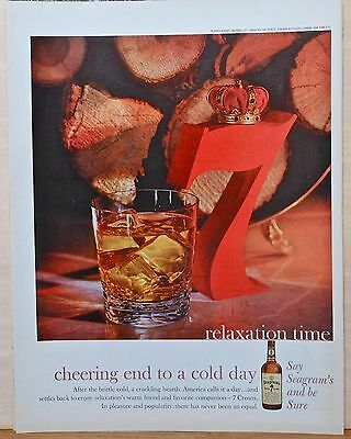Vintage 1960 magazine ad for Seagram's Seven Whiskey - crowned 7 & firewood