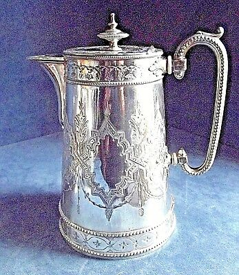 SUPERB Ornate LARGE ~ SILVER Plated ~ BULBOUS Water / WINE JUG ~ c1890