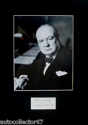 WINSTON CHURCHILL signed autograph PHOTO DISPLAY World War 2 Prime Minister
