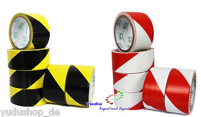 Warning Tape Adhesive Barrier Red/White & Yellow/Black 45mmx50m, 0,08 €/ Meter