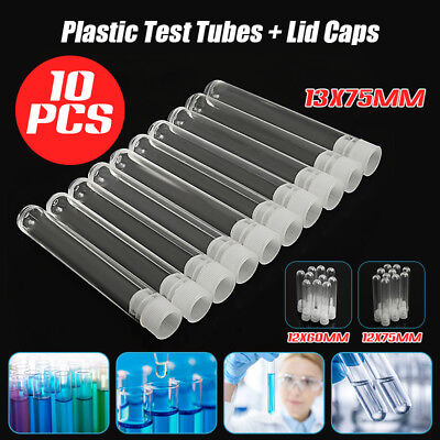 10PCS Clear Plastic Test Tubes Lab Teaching With White Stoppers Small Size New
