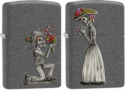 "Zippo ""Skeleton Love"" 2 Piece Set Iron Stone Finish Lighters, Full Size,  28987"