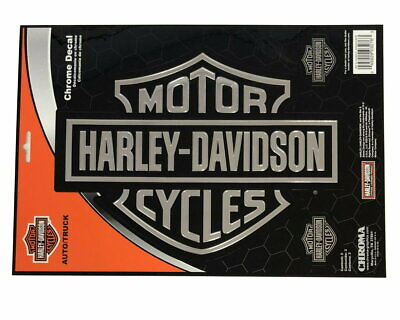 Xl 10 Inches Harley Davidson Motorcycle Bar & Shield Chrome Decal - Made In Usa