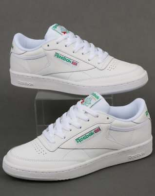 Reebok Club C 85 Trainers in White & Green leather - classic retro tennis shoe
