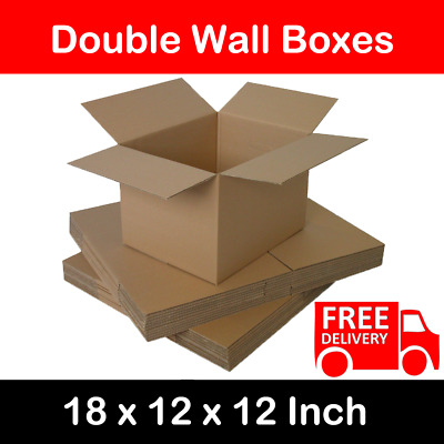 5x STRONG DOUBLE WALL CARDBOARD BOXES HOME REMOVAL STORAGE PACKING LARGE POSTAL