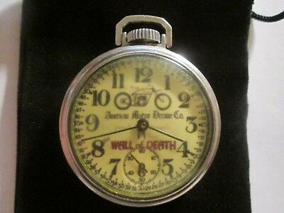 16S Westclox Pocket Watch Motorcycle Wall Of Death Theme Dial & Case Runs.