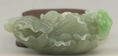 Chinese natural hetian jade hand-carved cabbage statue pendant 3.2 inch