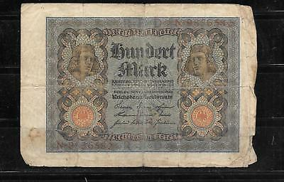GERMANY GERMAN #69a 1920 AG USED 100 MARK OLD BANKNOTE PAPER MONEY BILL NOTE